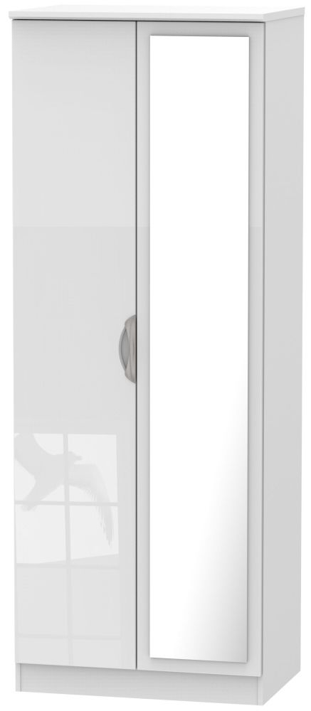 Camden High Gloss White 2 Door Tall Mirror Double Wardrobe