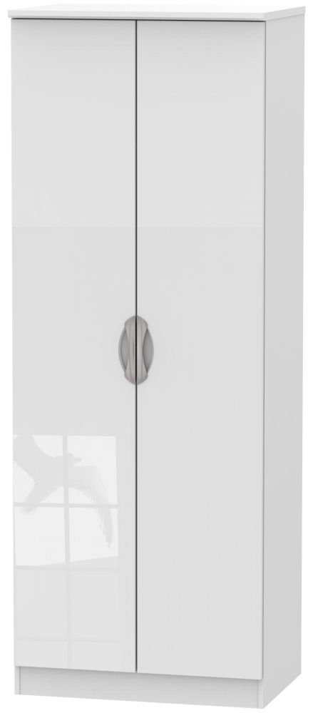 Camden High Gloss White 2 Door Tall Plain Wardrobe