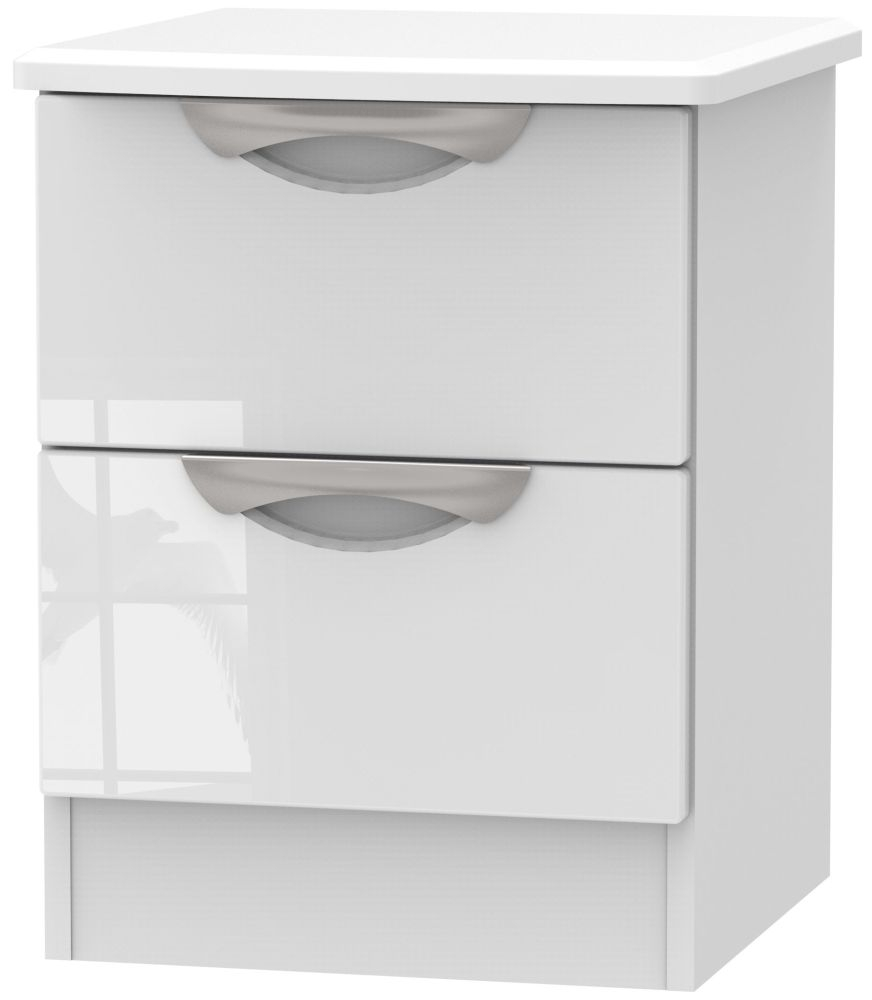 Camden High Gloss White 2 Drawer Bedside Cabinet