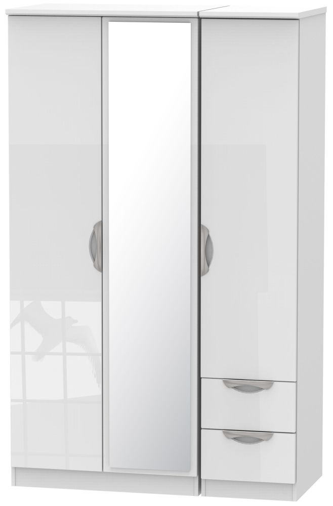 Camden High Gloss White 3 Door 2 Right Drawer Mirror Wardrobe
