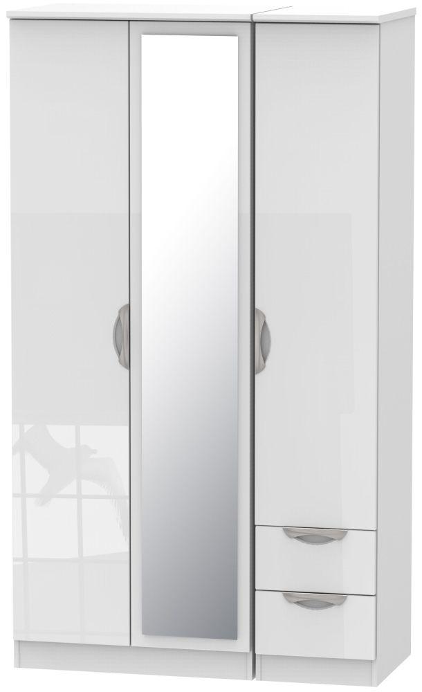 Camden High Gloss White 3 Door 2 Drawer Tall Mirror Triple Wardrobe