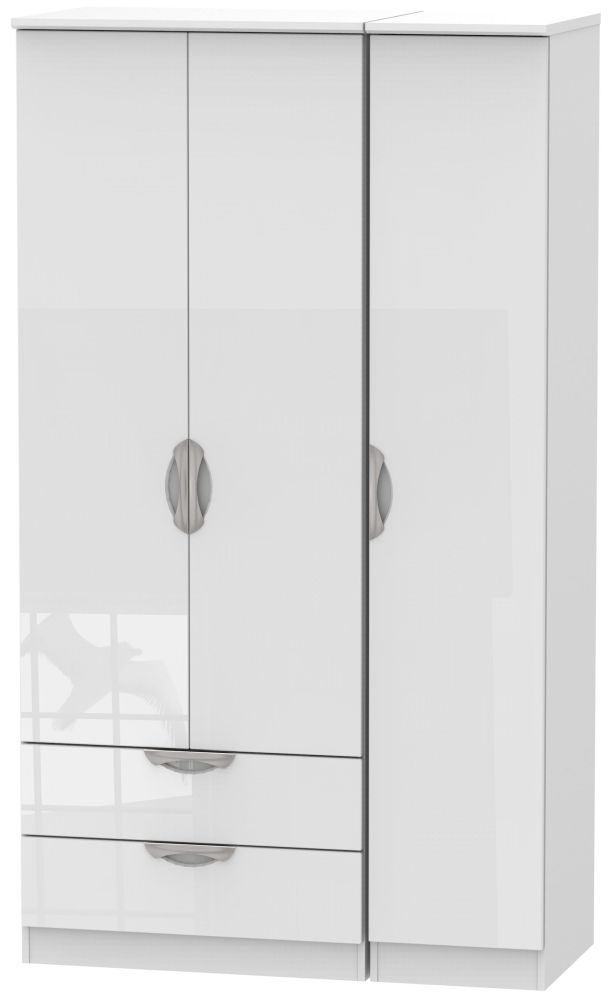 Camden High Gloss White 3 Door 2 Drawer Tall Wardrobe
