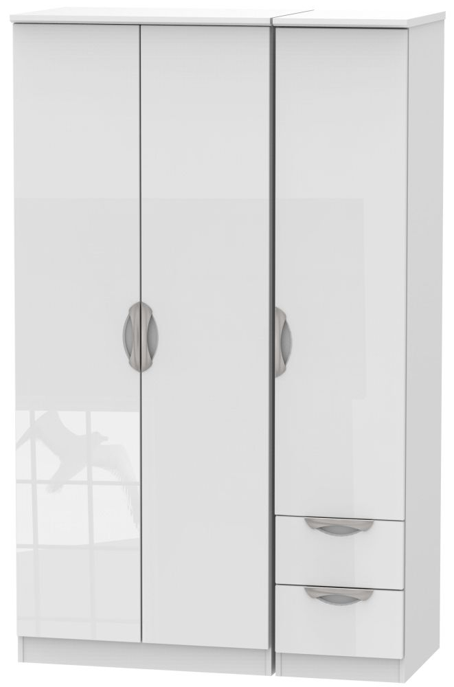 Camden High Gloss White 3 Door 2 Right Drawer Plain Wardrobe