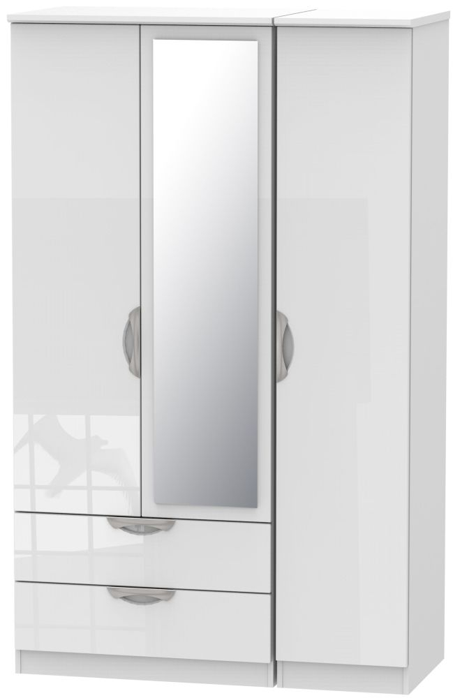 Camden High Gloss White 3 Door 2 Left Drawer Mirror Triple Wardrobe