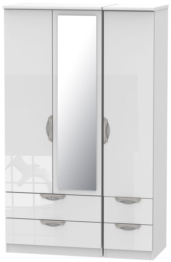 Camden High Gloss White 3 Door 4 Drawer Mirror Triple Wardrobe