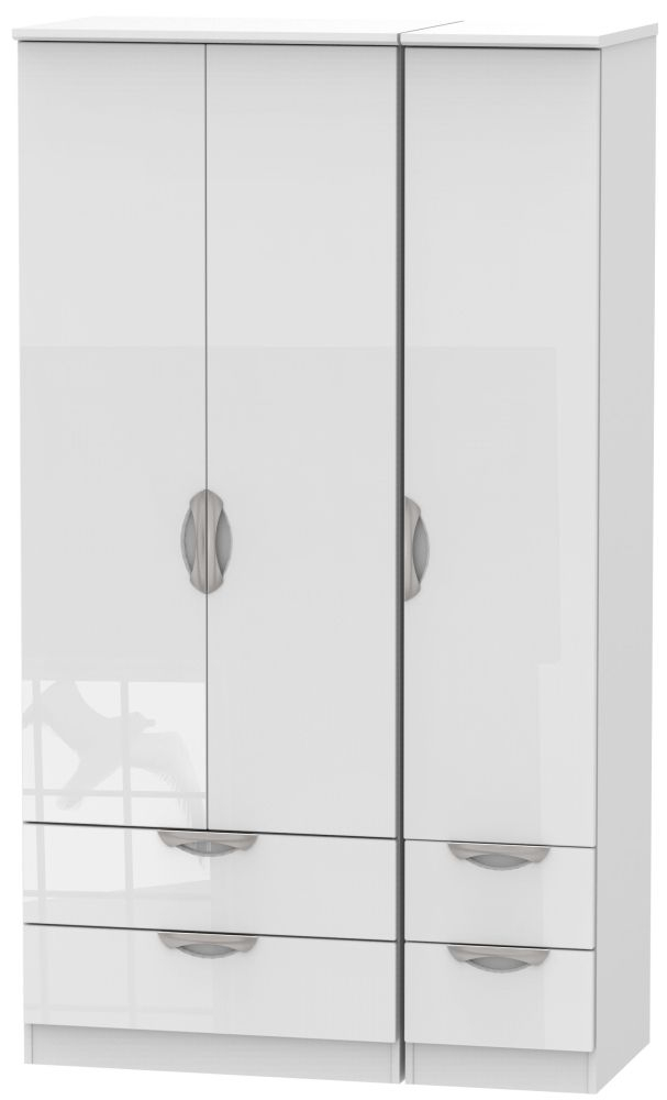 Camden High Gloss White 3 Door 4 Drawer Tall Triple Wardrobe