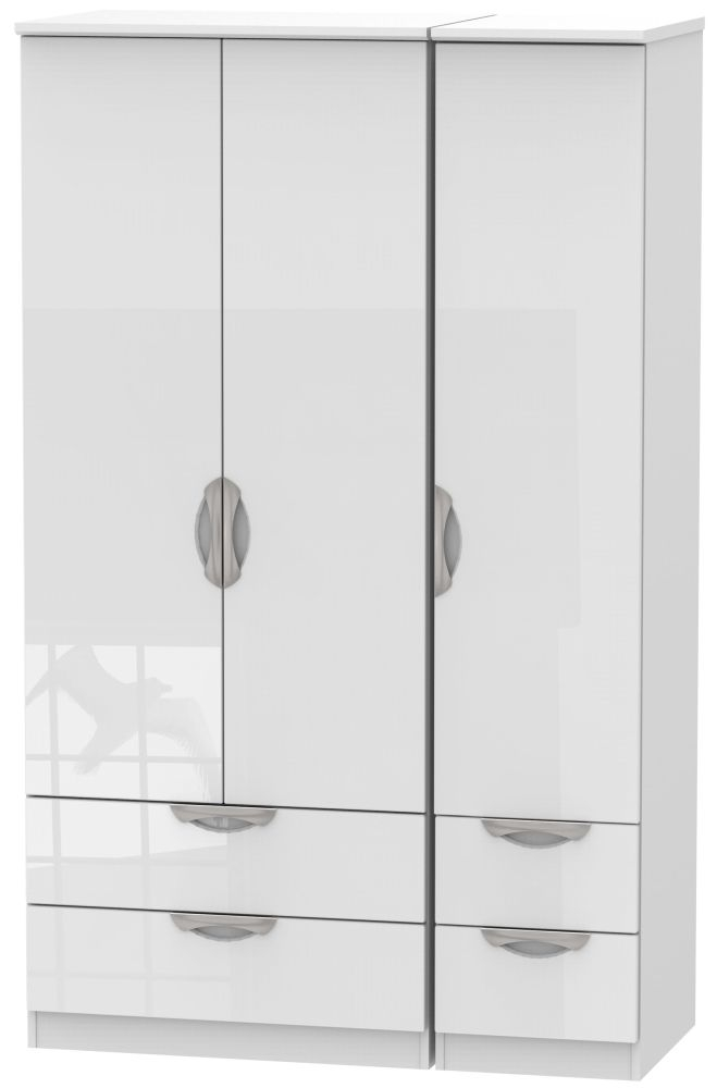 Camden High Gloss White 3 Door 4 Drawer Triple Wardrobe