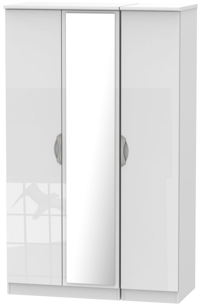Camden High Gloss White 3 Door Mirror Triple Wardrobe