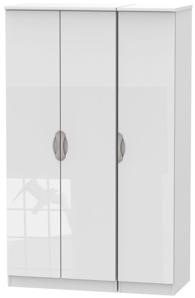 Camden High Gloss White 3 Door Plain Wardrobe