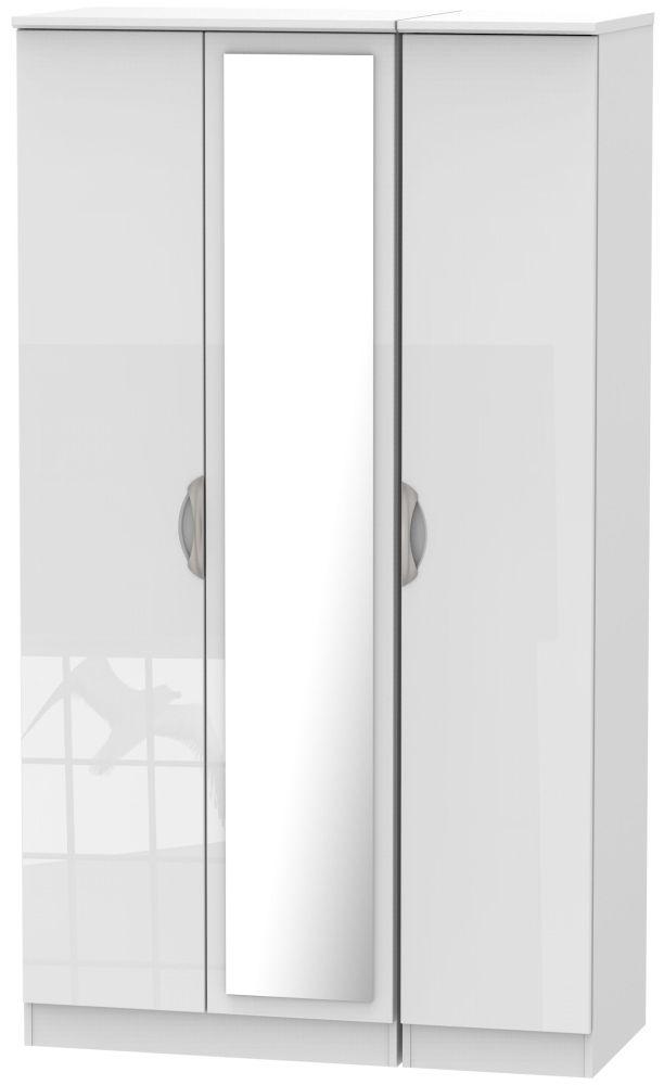 Camden High Gloss White 3 Door Tall Mirror Triple Wardrobe