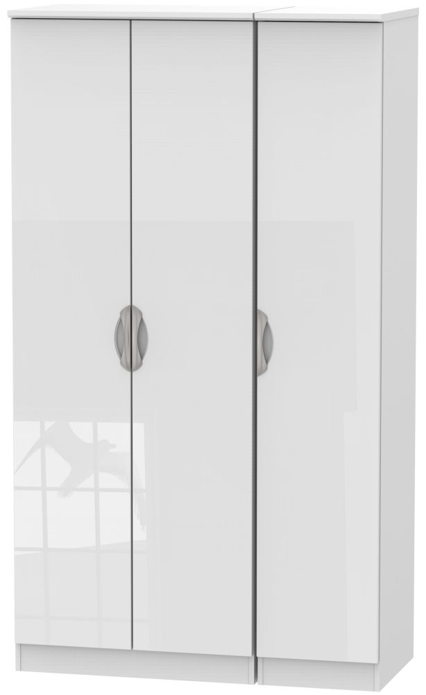 Camden High Gloss White 3 Door Tall Plain Triple Wardrobe