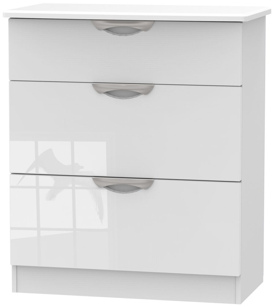 Camden High Gloss White 3 Drawer Deep Chest