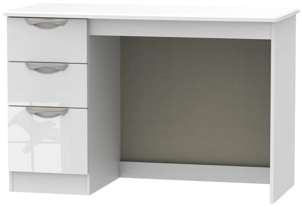Camden High Gloss White 3 Drawer Desk
