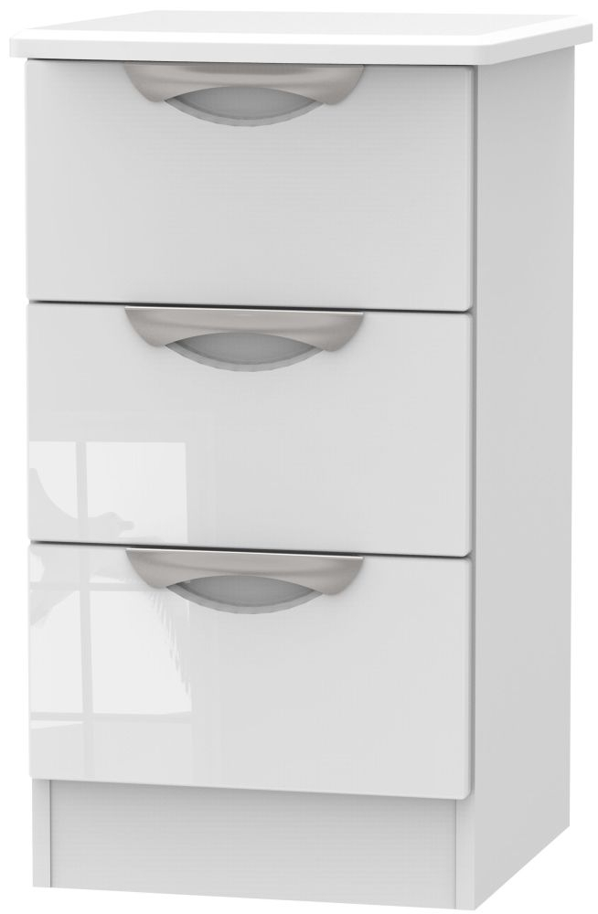 Camden High Gloss White 3 Drawer Locker Bedside Cabinet