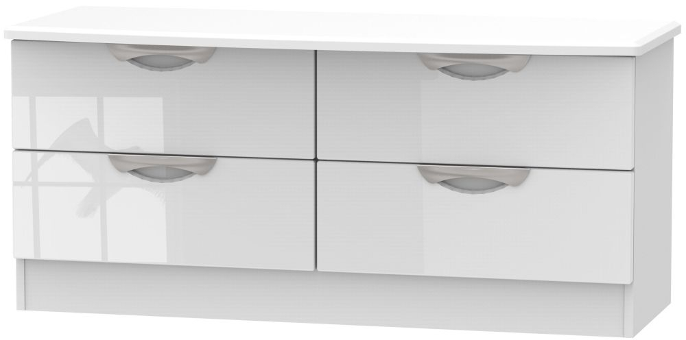 Camden High Gloss White 4 Drawer Bed Box