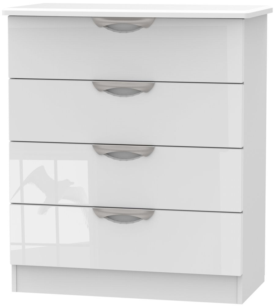Camden High Gloss White 4 Drawer Chest
