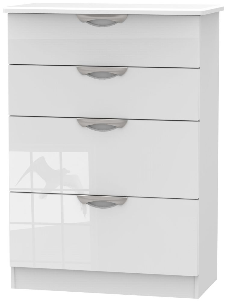 Camden High Gloss White 4 Drawer Deep Chest