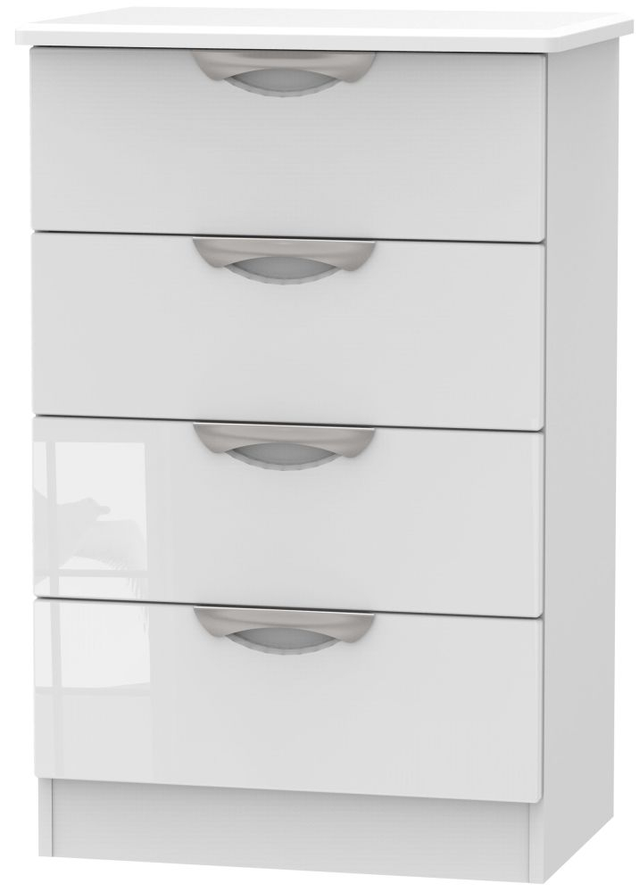 Camden High Gloss White 4 Drawer Midi Chest