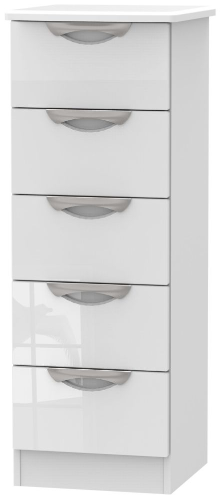 Camden High Gloss White 5 Drawer Tall Chest