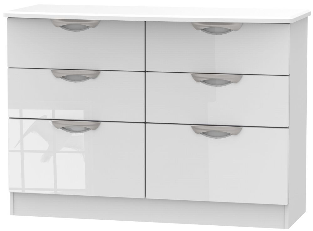 Camden High Gloss White 6 Drawer Midi Chest