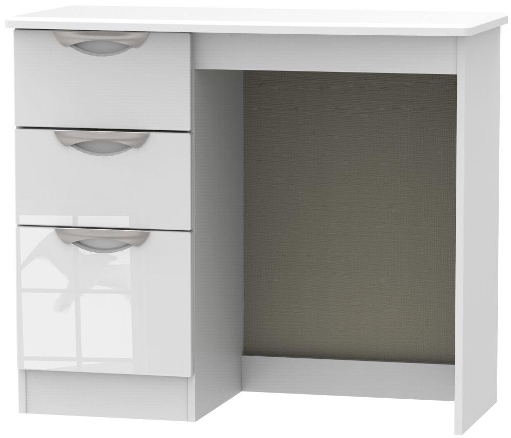 Camden High Gloss White Single Pedestal Dressing Table