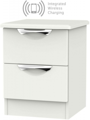 Camden Light Grey 2 Drawer Bedside Cabinet with Integrated Wireless Charging