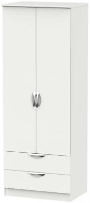 Camden Light Grey 2 Door 2 Drawer Tall Wardrobe
