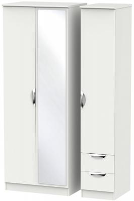 Camden Light Grey 3 Door 2 Right Drawer Tall Mirror Wardrobe