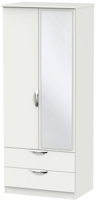 Camden Light Grey 2 Door 2 Drawer Mirror Wardrobe