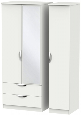 Camden Light Grey 3 Door 2 Left Drawer Mirror Triple Wardrobe