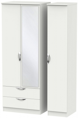 Camden Light Grey 3 Door 2 Left Drawer Tall Mirror Triple Wardrobe