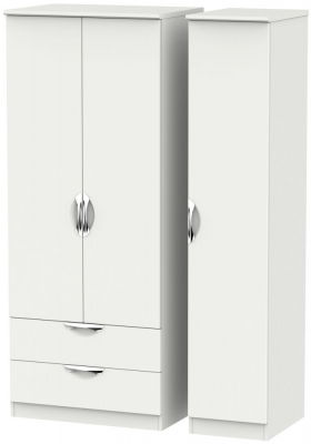 Camden Light Grey 3 Door 2 Left Drawer Triple Wardrobe