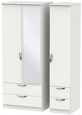 Camden Light Grey 3 Door 4 Drawer Mirror Triple Wardrobe