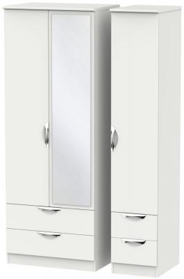 Camden Light Grey 3 Door 4 Drawer Tall Mirror Wardrobe