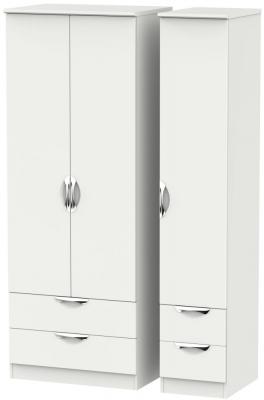 Camden Light Grey 3 Door 4 Drawer Tall Triple Wardrobe