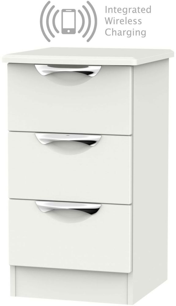 Camden Light Grey 3 Drawer Bedside Cabinet with Integrated Wireless Charging
