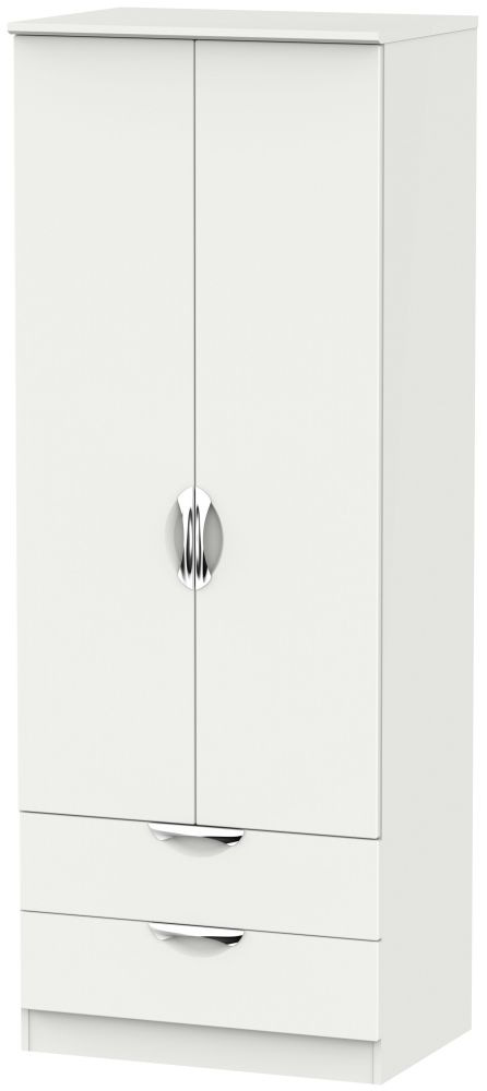 Camden Light Grey 2 Door 2 Drawer Tall Double Wardrobe