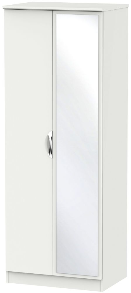 Camden Light Grey 2 Door Tall Mirror Double Wardrobe