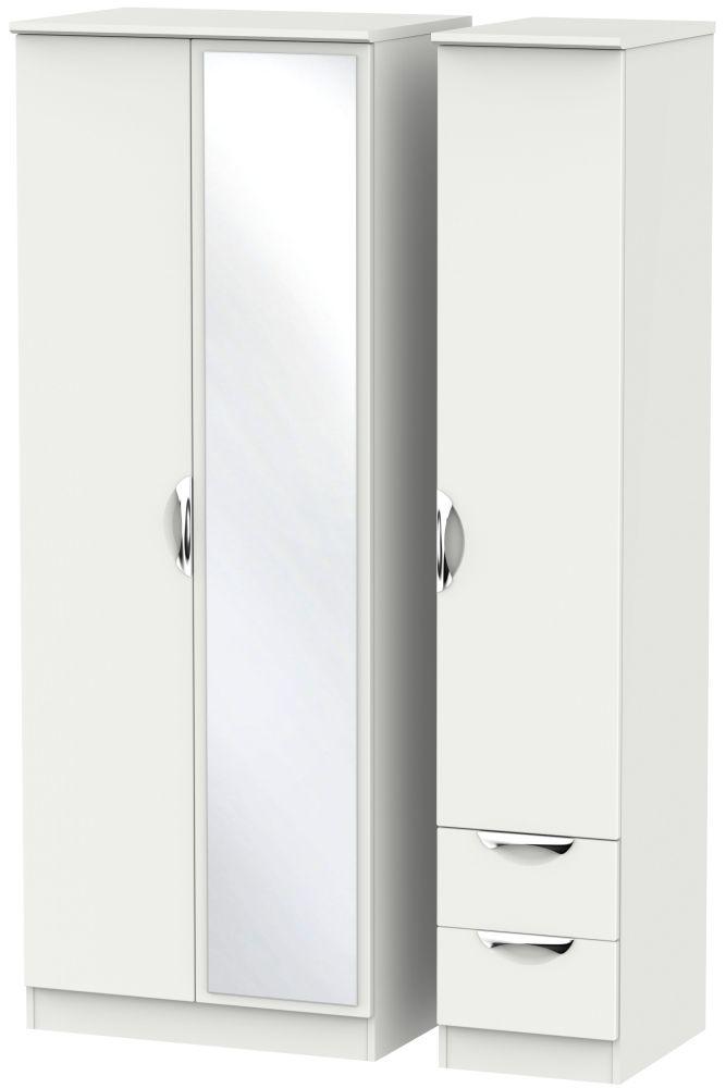 Camden Light Grey 3 Door 2 Drawer Tall Mirror Triple Wardrobe