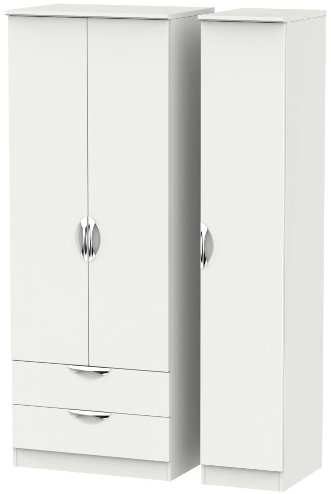 Camden Light Grey 3 Door 2 Drawer Tall Triple Wardrobe
