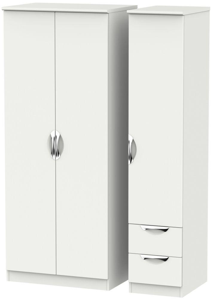 Camden Light Grey 3 Door 2 Right Drawer Plain Wardrobe