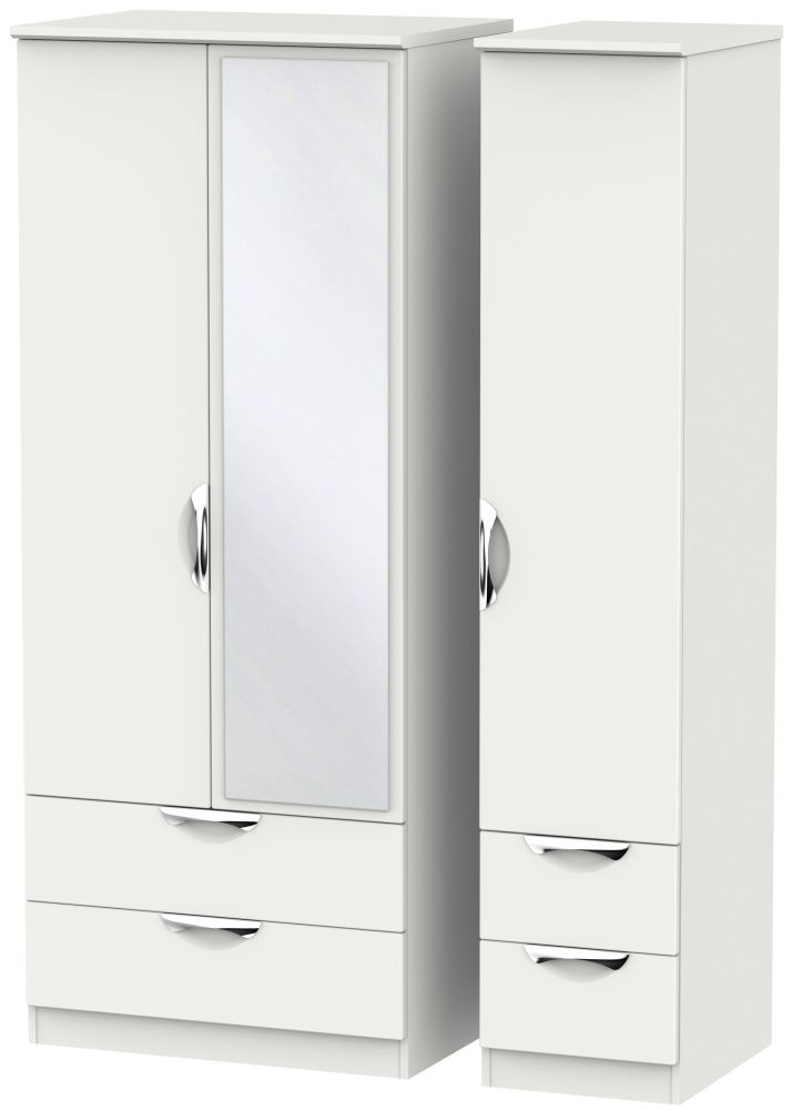 Camden Light Grey 3 Door 4 Drawer Mirror Wardrobe