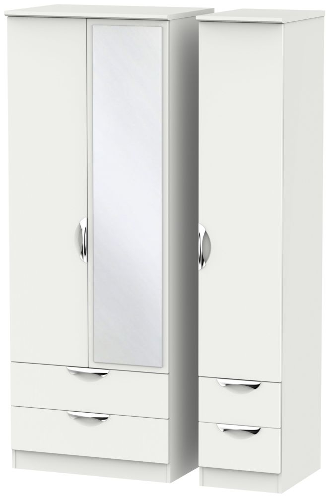 Camden Light Grey 3 Door 4 Drawer Tall Mirror Wardrobe