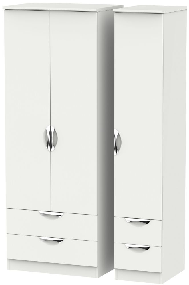 Camden Light Grey 3 Door 4 Drawer Tall Triple Wardrobe
