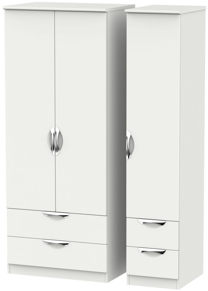 Camden Light Grey 3 Door 4 Drawer Triple Wardrobe