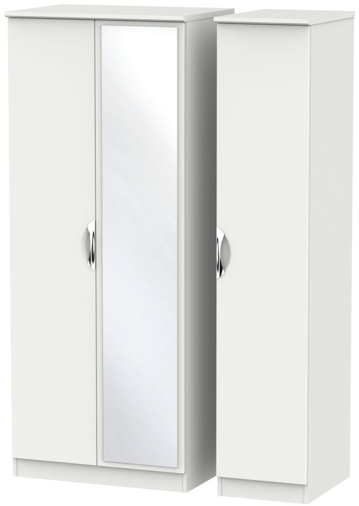 Camden Light Grey 3 Door Mirror Triple Wardrobe