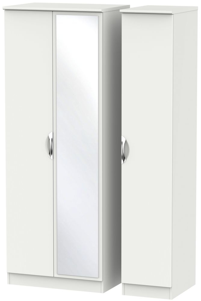 Camden Light Grey 3 Door Tall Mirror Triple Wardrobe