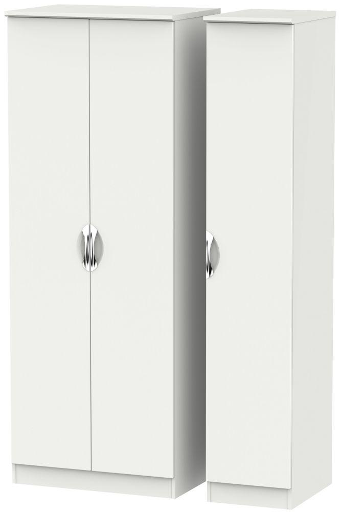 Camden Light Grey 3 Door Tall Plain Triple Wardrobe