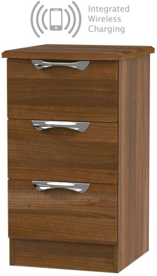 Camden Noche Walnut 3 Drawer Bedside Cabinet with Integrated Wireless Charging