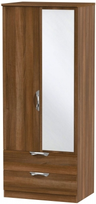 Camden Noche Walnut 2 Door 2 Drawer Mirror Wardrobe